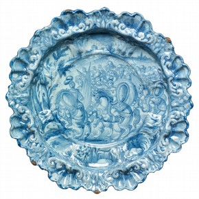 Plate with moulded rim by Giovanni Antonio Guidobono (1605-1685). Museum no. 4341-1857
