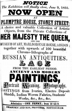 Advertisement for Circulating Exhibition at Plumptre House, Nottingham, 1855. V&A Archives