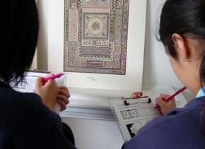 Students exploring pattern through the V&amp;A and RIBA collections