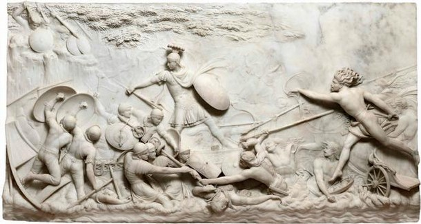 Marble relief depicting The Landing of Julius Caesar in Britain, John Deare, 1791-96