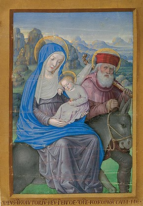 'Flight into Egypt', illuminated manuscript from the Book of Hours of Louix XII by Jean Bourdichon, 1498/9, France. From a private collection, courtesy of Sam Fogg, London.