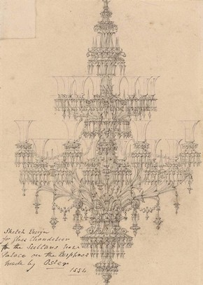 Figure 12 - Design for chandelier for sultan in Sketches and Drawings by John Thomas, Volume 1 (RIBA, 10)
