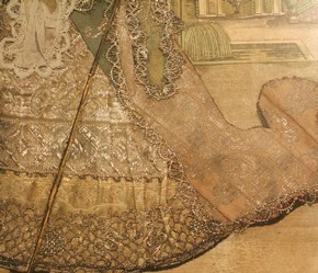 Figure 25 - Detail of the skirts of the unknown woman with spear, Antoine Trouvain, late 17th century. Museum no. 1196-1875