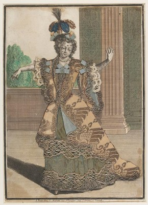 Figure 1 - Engraving, Mademoiselle Subligny dansant a l'Opera, Jean Mariette (publisher), about 1688-1709, hand coloured with applied silks and bobbin lace. Museum no. 1197-1875