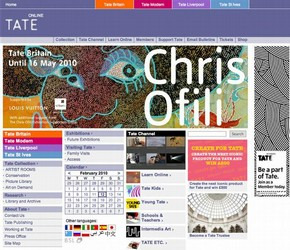 Figure 7 - Tate's homepage, digital screenshot captured October 2010, courtesy of Tate