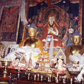Altar at Shalu, Southern Tibet showing Buddha images in worship.
