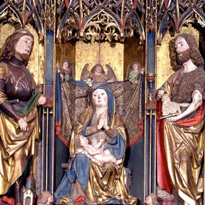 Winged altarpiece with Virgin and Child and saints, about 1500-1510, Museum no. 192-1866