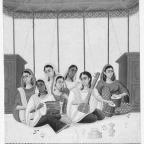 Figure 3. Group of Female Musicians, after conservation, showing retouching on Melinex.