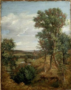 John Constable (RA), 'Dedham Vale', oil painting, 1821. Museum no.124-1888