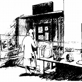Figure 3. Diana Casson's Sketch of Gallery 125 - display showing the influence of Japan on English style