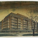 John Lewis, Oxford Street, London. William Crabtree (1905–91) and C.H. Reilly (1874–1948), 1939. Perspective of Cavendish Square front by Raymond Myerscough-Walker, 1937. Ink, pencil and watercolour. RIBA Library Drawings Collection