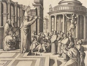 Marcantonio Raimondi, 'Paul Preaching by Athens', print of Raphael's cartoon. Museum no. E.4662-1910