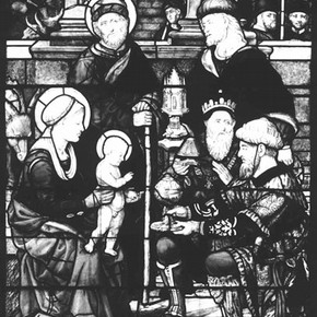 Figure 1. Stained glass window in three sections, depicting the Adoration of the Magi, William of Marseilles, about 1516. Museum no. 634:1902. Photography by V