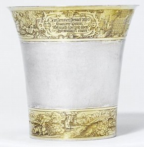 Monatsbecher (Month Beaker), mark of Courakt Grenter, Strasbourg, around 1550. Museum no. 6558-1859