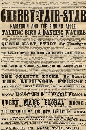 Playbill for Sadler's Wells Theatre, J.W. Last, December 1861
