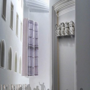 Visualisation of the façade of Sir Paul Pindar's House in Room 64b. Image courtesy of MUMA Ltd