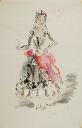Costume design for Rosina in The Barber of Seville, Oliver Messel, Museum no. S.40-2006