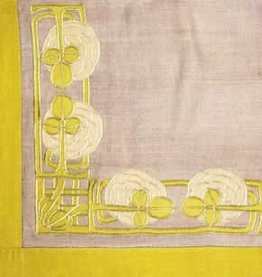 Embroidered linen tablecloth by Ann Macbeth, c. 1900. Museum no. T.68-1953