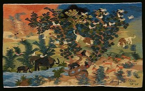 Animals by the Watering Hole, tapestry, 'Ali Salim, 1985. Museum no. ME.1-2008