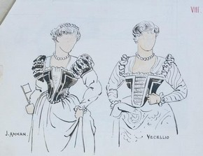 Costume design for Portia in William Shakespeare's The Merchant of Venice. Museum no. 2006AW2342