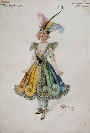 Costume designed by Wilhelm for Adeline Genée as Patty in the ballet 'The Pretty Prentice', 1916. Museum no. S.1452-1982