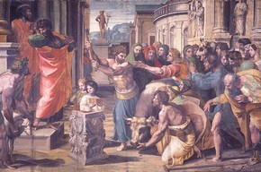 Raphael, The Sacrifice at Lystra, 1515-16 Bodycolour on paper mounted onto canvas (tapestry cartoon), 350 x 560cm Lent by H.M. The Queen