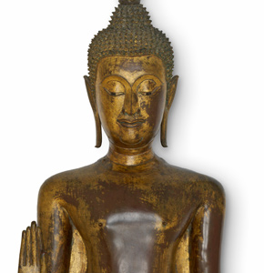 Standing figure of the Buddha, about 1500, Copper rich alloy, with traces of gilding, polychromy and mother of pearl. Museum no. IS.11-1996