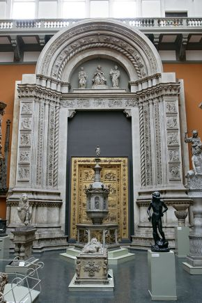 Plaster cast of central doorway of S. Petronio, Bologna, Italy by Jacopo della Quercia, 1425-1438, cast made by Oronzio Lelli, 1886. Museum no. Repro.1887-41, © Victoria and Albert Museum, London