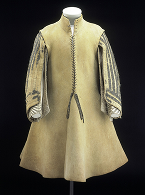 Leather Buff Coat, English, 1640-50, T.34-1948. Victoria and Albert Museum, London.
