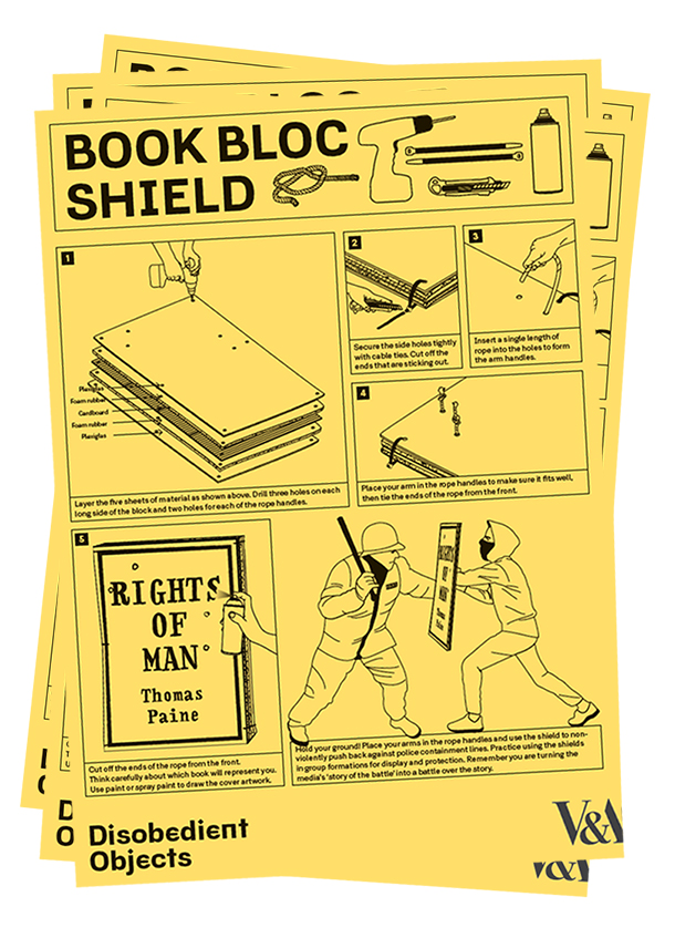 How to Guide: Book Bloc Shield. llustration by Marwan Kaabour, Barnbrook