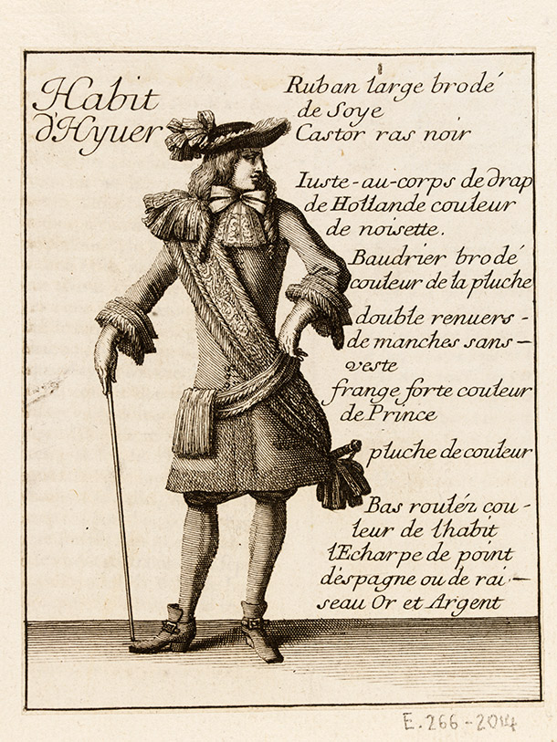Man in  winter suit with cane, by Jean Le Pautre after Jean Bérain, from the  fashion supplement of Le Mercure Galant, 1678, France (Paris), etching  and engraving. Museum no. E.266-2014, © Victoria and Albert Museum,  London