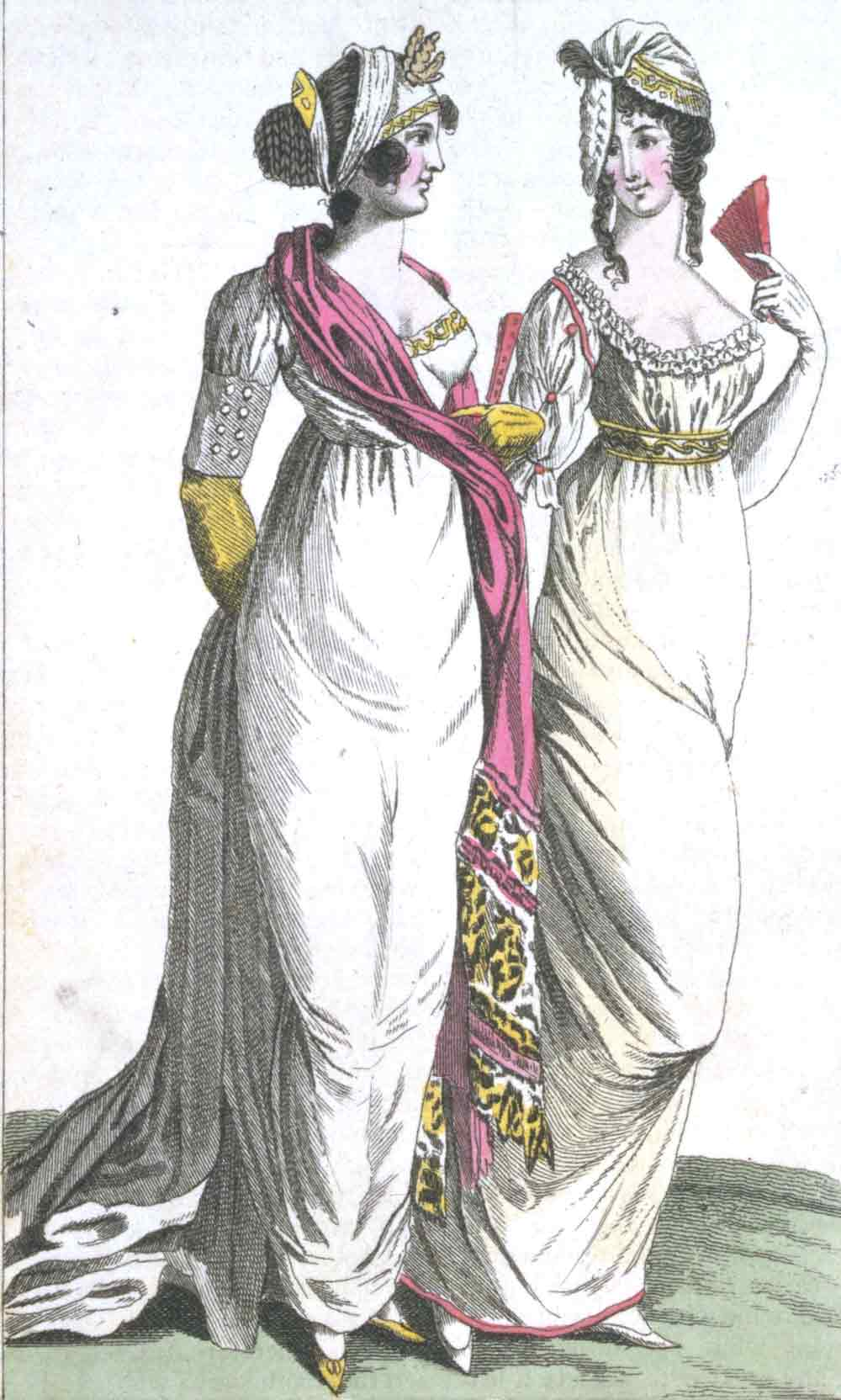 2b1b7929a931 This fashion plate from 'Ladies' magazine of 1801 shows the characteristic  high waistline of the time. Museum no. E.249-1955. © Victoria & Albert  Museum ...