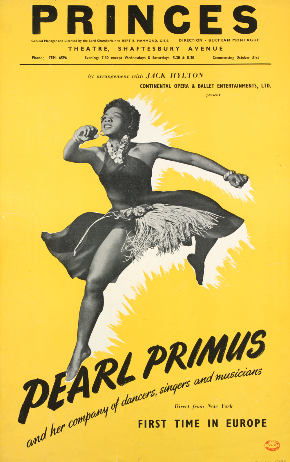 Pearl primus company poster shaftesbury avenue theatre london 1951 museum no s 4119 1994