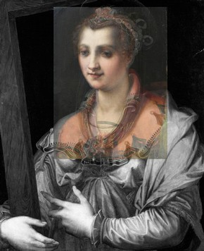 Figure 1 - Overlay showing the larger version of St Helena, (Francesco Morandini, around 1575, Walters Art Museum, Baltimore accession no. 37.1096) with the V&A version overlaid in colour. Photography courtesy of Ruth Bowler and Gabriella Macaro.