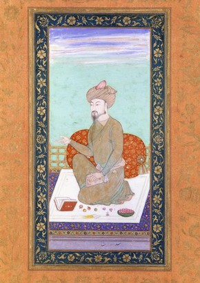 Portrait of Mughal Emperor Zahir ud-Din Mohammad (Babur) (1483-1530), unknown artist, around 1630. Museum no. IS.37-1972