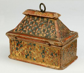 Casket with sloping lid of poplar, decorated in gesso with a diaper of gilded fleur-de-lys on a blue ground. This object was bought in 1899 from Stefano Bardini, Italy's leading antique dealer of his day.