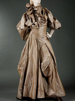 Silk evening dress by Vivienne Westwood, from her 'Anglophilia' collection, A/W 2003. Lent by Westwood for the V