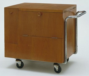 Kozma Drinks Trolley, designed by Zsuzsa Kozma (1913 - ), Budapest, Hungary, about 1938-9, walnut, chromed metal, linoleum, later rubber wheels. Museum no. W.21-1997