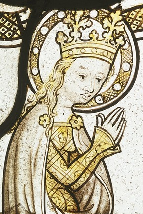 Detail of stained glass panel, England, 100-1420. Museum no. C.295-1911