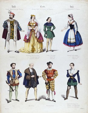 Coloured print of costume design for Gioacchino Rossini's opera William Tell, 19th century