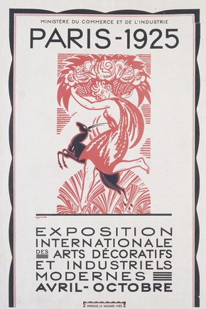 Colour woodblock poster for the Paris 1925 Exhibition, by Robert Bonfils for Imprimerie Vaugirard, Paris, France, 1925. Museum no. E.1200-1925