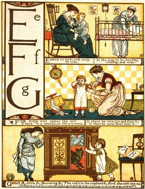 'Baby's Own ABC', by Walter Crane, published by Routledge, London, England, UK, 1870's. Pressmark 60.Y.166