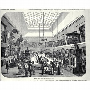 'The Saleroom of The Commissaires-priseurs, Paris', wood engraving, Paris, France, 18467. Museum no. NAL PP 10