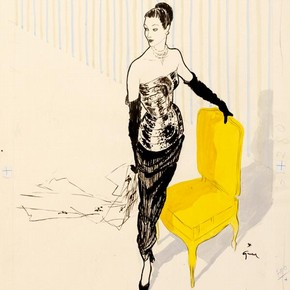 2) René Gruau (1909-2004), fashion illustration, Paris, 1949. Museum no. E.397-1986