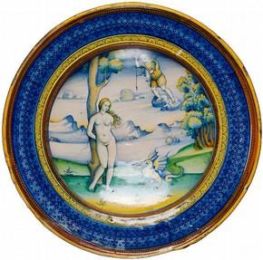 Maiolica dish, Master C. I., Faenza, Italy, about 1510. Museum no. C. 2118-1910