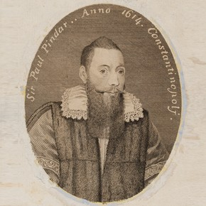 Engraved portrait of Sir Paul Pindar, by Thomas Trotter after an anonymous painting of 1614, England, 1794. Museum no E.430-1943
