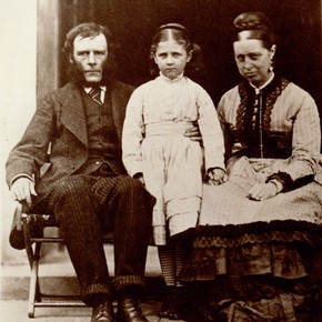 Photograph of Beatrix Potter aged 8, with her parents, by Rupert Potter, 1874. © Frederick Warne & Co.