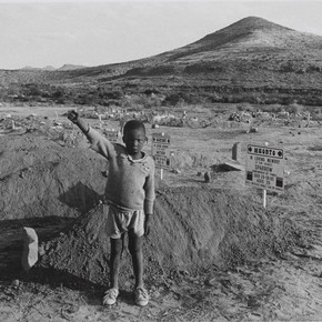 David Goldblatt, 'The salute of the banned African National Congress at the graves of four assassinated black community leaders', Cradock, Eastern Cape, South Africa, 20 July, 1985, gelatin-silver print. Museum no. E.112-1992, © Victoria and Albert Museum, London