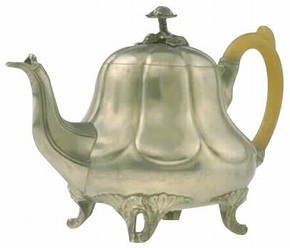 Teapot, stamped Britannia metal, with cast elements and horn, Sheffield, England, 1852–60, made by Buxton & Russell. Museum no. AP.734