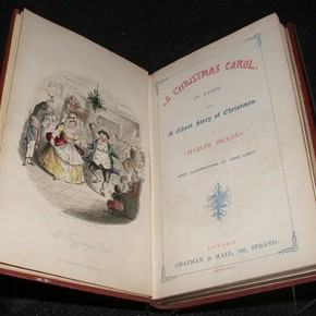 A Christmas carol: in prose: being a ghost story of Christmas, Charles Dickens, illustrator John Leech, engraver W.J. Linton, published by Chapman &amp; Hall, London, 1843